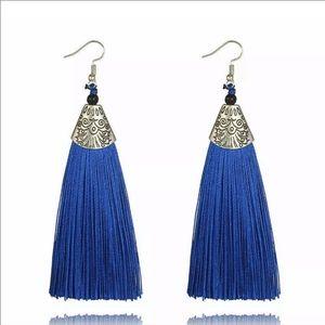 Jewelry - Boho Fringe Earrings Blue Fringe Tassel